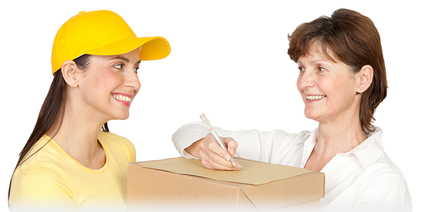 Postbotin mit Paket - Nachsenden.info